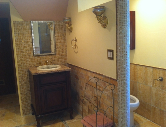 English Tudor Revival bathroom design